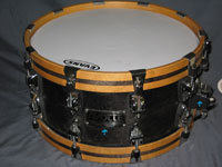 Ayotte: Satin Ebony w/ Wood Hoops